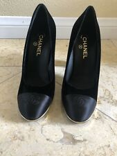 Brand New Never Worn Black Velvet And Satin Chanel Pumps Size 41 US Size 11