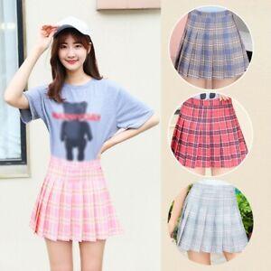 Women High Waist Plaid Skirt Flared Pleated Short Skirt School Girls Mini-Dress