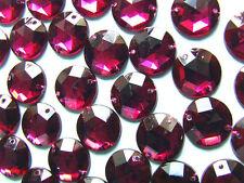 120 Burgundy/Wine Faceted Beads Acrylic Rhinestone/Gems 15 mm Flat Back StitchOn