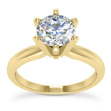 1.03 CT H VS1 Round Cut Diamond Solitaire Engagement Ring 14k Yellow Gold