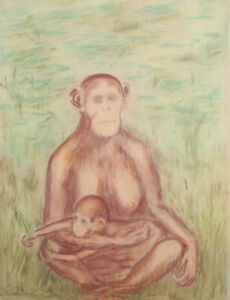 Vintage pastel drawing monkeys chimpanzee portrait