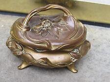Melted Flower Lily Buds Gilt Bronze Vtg. Art Nouveau Jewelry Box Casket Cask Box