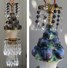 Chandelier Swag vintage lamp Brass Porcelain Capodimonte Plum Fruit purple beads