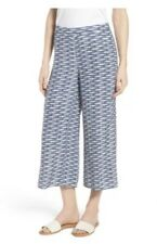 Nic + Zoe Big Sea Pant Blue Fish Print Ankle Cropped Wide Leg Size 4P Side Zip