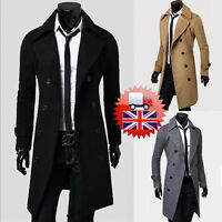 Men's Fashion Coat Trench Double-breasted Coat Jacket Winter Overcoat Long KCE