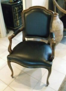 Chateau D'AX Spa Black Leather Wood Carved Arm Chair made in Italy