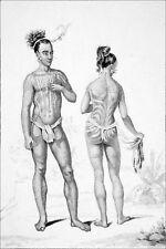 OCÉANIE - ILES CAROLINES : INDIGÉNES TATOUÉS des DEUX SEXES - Gravure du 19e s.
