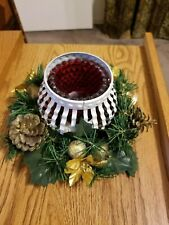 VINTAGE CHRISTMAS TABLE WREATH CENTERPIECE Glass Candle Holder Great Shape