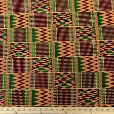 Kente African Print Fabric 100% Cotton 44'' wide sold by the yard (19007-1)