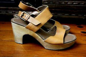 Sportsgirl Tan Leather Sandal Clogs Heels Shoes Size 9 Resort Casual Weekend