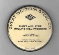 Old Great Western STEEL CHICAGO Pocket Mirror Sheet Strip Rolling Mill Products