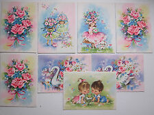 VTG Mixed Lot Greeting Cards Pink Roses Swan Little Girls Poodle Feminine UNUSED