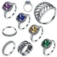 Luxury Sapphire Silver Rings for Women 925 Jewelry Wedding Engagement Size 6-9