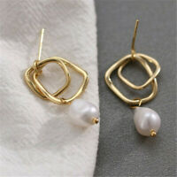 15x32mm Natural White Baroque Pearl 14K Ear Drop Dangle AAA Party Real Luxury