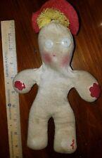 "Vintage Sock Doll Homemade 1950's 9"" Red Hat Blonde Hair Button Eyes Sad Shape!"