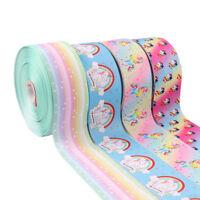 "2Yards 3"" Grosgrain Ribbon Cute Unicorn Printed Rainbow Star Tape DIY Materials"