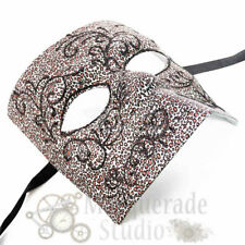 Masquerade Mask Mens Silver Print Bauta Venetian Costume Theater Halloween Mask