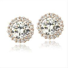 Rose Gold Tone over 925 Silver CZ Halo Stud Earrings