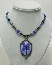 Amy Brown Cameo Necklace LUNA SPRITE Fairy Faery pendant fantasy blue moon