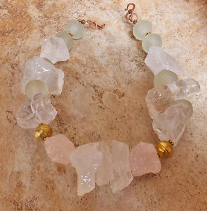 RAW ICE QUARTZ rose STATEMENT NECKLACE MINT RECYCLED GLASS Collier Grande Marque