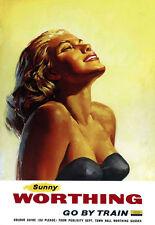 Art Ad Sunny Worthing Go by Train  Train Rail Travel  Poster Print