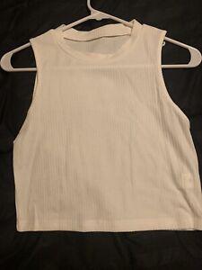 Shein Women's Medium Sleeveless White Ribbed Crop Top 🔥🔥