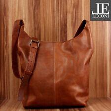 Leconi bandolera maletín de cuero señora bandolera óptica marrón le0055-wax