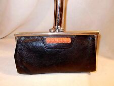 Art deco 1930's black leather clutch bag with a heavy chrome frame and bakelite