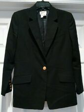 Talbots Black 100% Wool Blazer Suit Jacket Lined Size 8P One Gold Button Coat