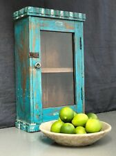 ANTIQUE/VINTAGE INDIAN. ART DECO DISPLAY/BATHROOM CABINET.  TURQUOISE & VANILLA.