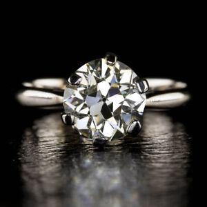 950 Platinum Round Cut 2.00 Carat Beautiful Diamond Wedding Ring Size M N O P Q