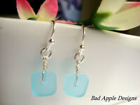 Square Caribbean Blue Frosted Sea Glass Silver Dangle Earrings