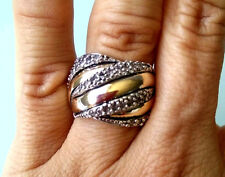 Two Tone Ring Sterling Silver with 9K Gold Size P1/2 SAME DAY SHIPPING