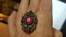 Stunning Oxidized Sterling Ruby & Emerald Gemstone Ring Size 10 For Ladies