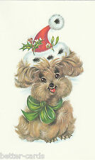 Happy Christmas Vintage 1970's Greeting Card - Merry Santa Claus Puppy Dog