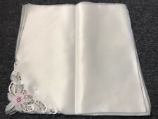 """12 PCS White Embroidered Embroidery Dinner Cloth 16x16"""" NAPKINS"""