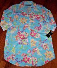 NWT Ralph Lauren Aqua/Pink/Green FLORAL Sleep Shirt Nightgown Gown M Cotton NICE