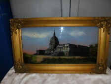 Antique Reverse Painting Of The Capitol Building in Gilt Gold Gesso Frame
