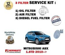 FOR MITSUBISHI ASX 1.8 TD 4N13 2010-> OIL AIR FUEL 3 FILTER SERVICE KIT