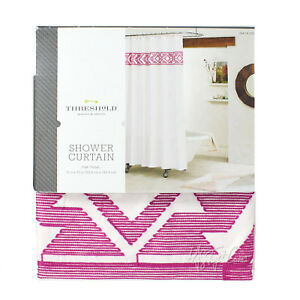 NEW Threshold Fabric SHOWER CURTAIN Embroidered Pink Tribal 100% Cotton  72x72""