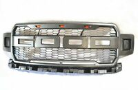 Grey Raptor Style Replacement Front Grille 2018-2019 Ford F150 With 3 LED Lights