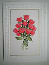"""WHITE WICKER"" BOUQUET OF RED ROSES ANY OCCASION GREETING CARD ~ Curtis Swann"
