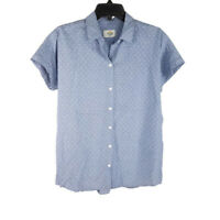 Marine Layer Presely Button Down Shirt Small Blue Chambray Hearts Short Sleeve S