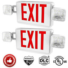 2PACK LED RED Exit Sign & Emergency Light Exit Sign Battery Combo for Home UL924