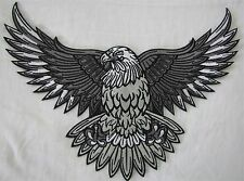 Rare Large Silver Bald Eagle Bike Motorcycle Biker Embroidered Sew Badge Patch