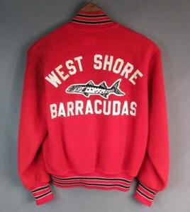 Vintage 1960s West Shore Barracudas Red Fleece Varsity Jacket Great Back Patch!