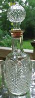 Clear Glass Cross Hatch Decanter Empty Bottle Mogen David Wine 5982