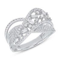 Diamond Crossover Bridge X Ring White Gold 14K Baguette Round Cut Natural Size 7