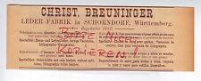 SCHORNDORF, Werbung 1892, Christ. Breuninger Leder-Fabrik Reitzeug-Geschirr
