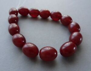 Vtg Lot of 14 Red Cherry Amber Bakelite Faturan Small Oval Loose Beads 18 Grams